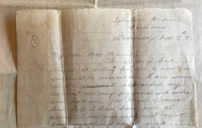 Дівчині потрапив на очі лист від прадідуся, який писав його своїй дружині, перебуваючи в ізоляції за часів іспанки