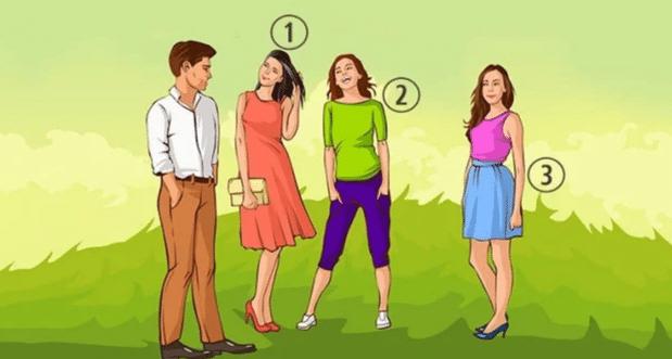 Ось картинка з трьома дівчатами і чоловіком. Ваше завдання – відповісти, хто з них йому найбільше подобається. Дивіться уважно, відповідь криється в деталях!