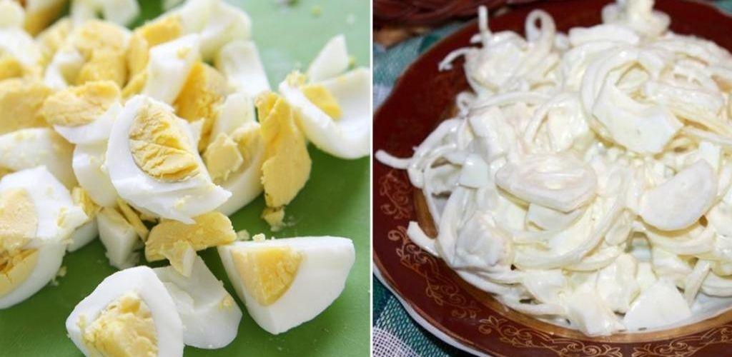 Потрібні тільки цибуля і яйця. Подружка поділилася рецептом смачного салату
