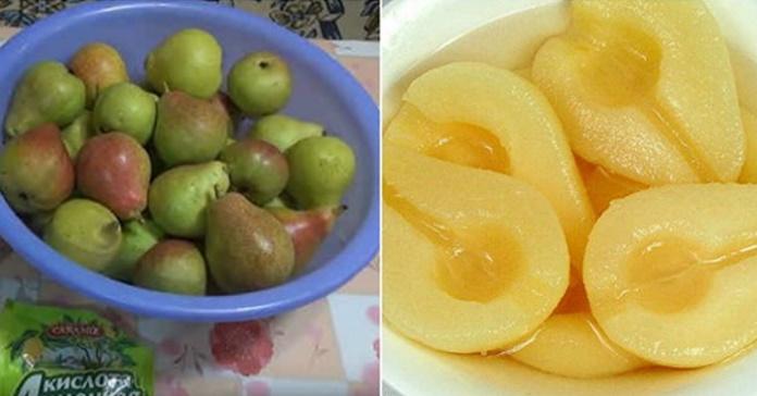 Солодкі та смачні консервовані груші. Відкрив баночку, і десерт готовий